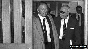 Miners' leader Arthur Scargill with the Coal board's newly appointed chairman Ian MacGregor in September 1983
