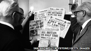 Newspaper headlines about the power cuts and disruption to industry caused by the 1970's miners' strike