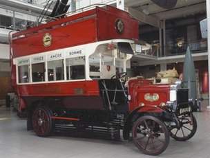 A red wartime bus