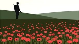 Silhouette of soldier in poppy field illustration