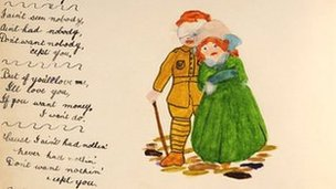 Hand-written poem and watercolour by WW1 soldier