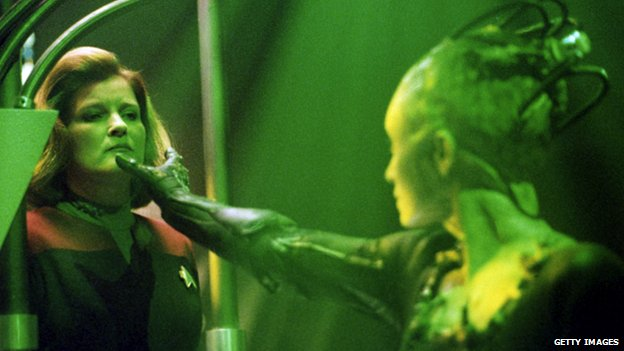 Actress Kate Mulgrew (left) stars as Captain Kathryn Janeway and Susanna Thompson stars as the Borg Queen in Star Trek: Voyager