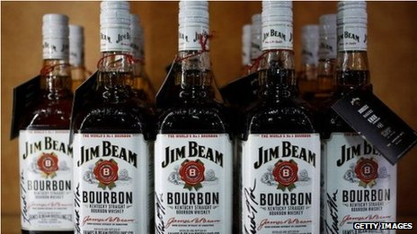 Bottles of Jim Beam whisky at a distillery