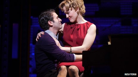 Anika Larsen and Jarrod Spector perform in Beautiful - The Carole King Musical