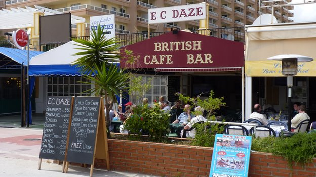 British cafe, Fuengirola, Spain