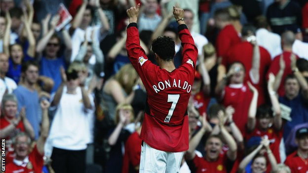 Cristiano Ronaldo acknowledges the Manchester United fans