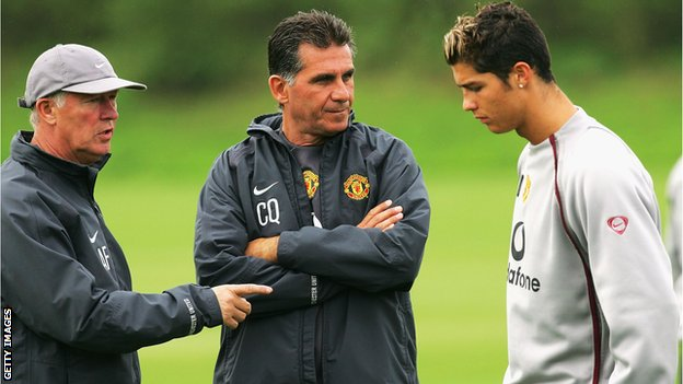 Sir Alex Ferguson (left), Carlos Queiroz (centre) and Cristiano Ronaldo during a Manchester United training session