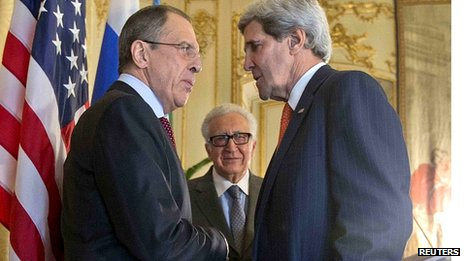 From left, Sergei Lavrov, Lakhdar Brahimi and John Kerry. 13 Jan 2014