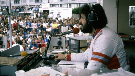 Dave Lee Travis at a Radio 1 Roadshow in 1977