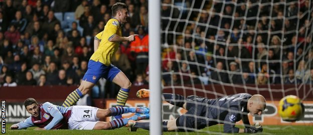 Olivier Giroud scores Arsenal's second goal against Aston Villa