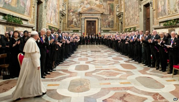 Pope Francis meets ambassadors to the Holy See at the Vatican on Monday 13 January