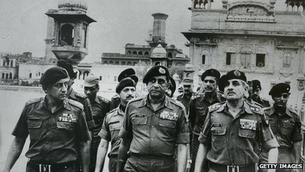 Indian army soldiers in the Golden Temple after the attack in June 1984
