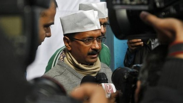 Mr Kejriwal's (centre) party was born out of activist Anna Hazare's anti-corruption movement that swept India two years ago