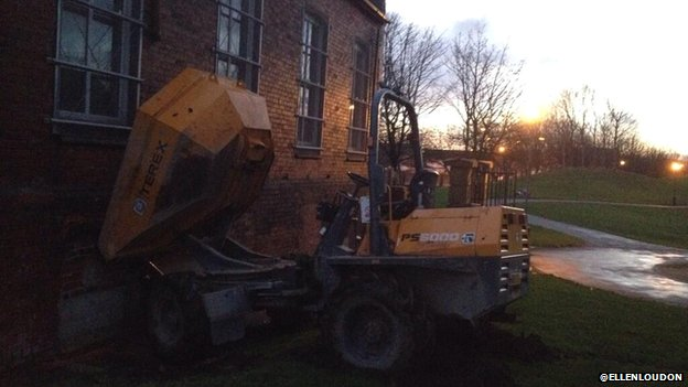 Dumper truck and church