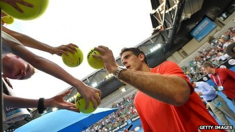 Argentina's Juan Martín Del Potro signs autographs for fans in Melbourne