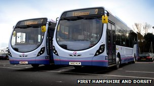 First Hampshire and Dorset buses in Weymouth