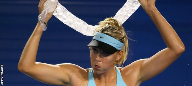 Maria Sharapova uses a necklace of ice to keep cool
