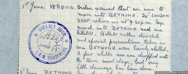 The First Battalion South Wales Borderers went to France as part of the British Expeditionary Force in 1914 (c) National Archives 1st June VERQUIN – Orders received that we were to move into BETHUNE. 24 LONDON REGT relieve us at 9:30pm. Easy march into BETHUNE and are billeted. Billets rather divided and special precaution taken in case BETHUNE was heavily shelled. A few shells are dropped into the town most days, but very little damage has been done.
