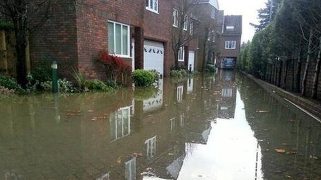 Flooded homes in Old Windsor