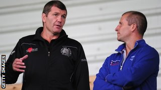 Rob Baxter and England head coach Stuart Lancaster