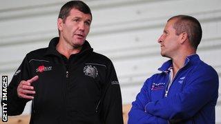Rob Baxter and England head coach Stuart Lancaster