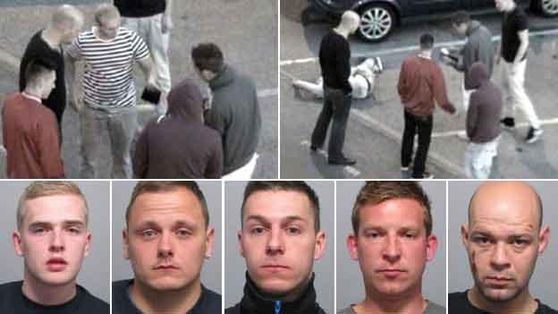 Five men who robbed Ipswich soldier