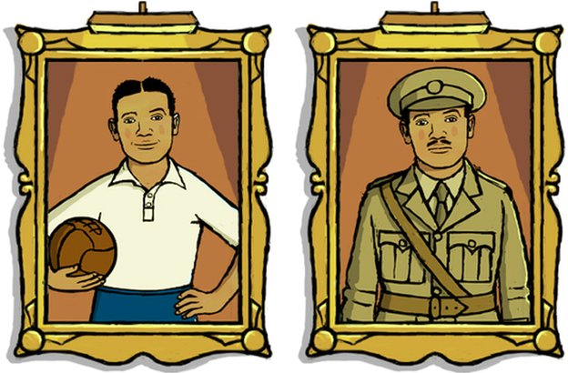 Two illustrated portraits of Walter Tull - one in his football strip and the other in his Officers uniform.