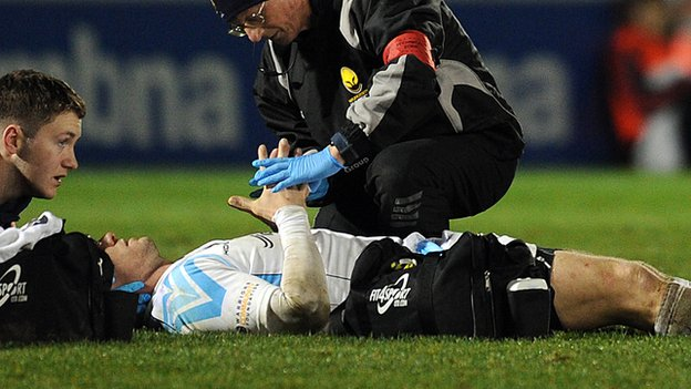 Paul Warwick suffered a neck injury in the defeat at Sale