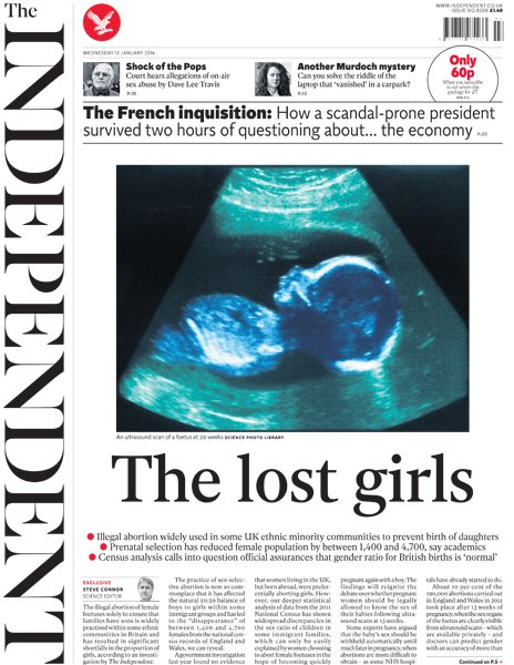 Independent front page, 15/1/14
