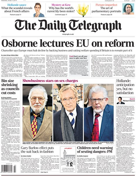 Daily Telegraph front page, 15/1/14