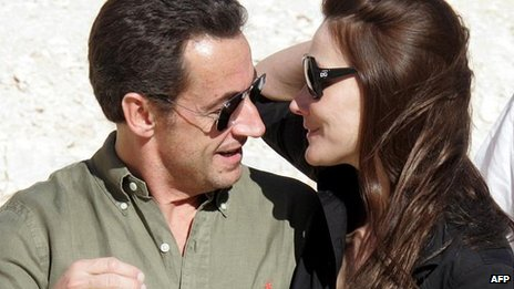 Nicolas Sarkozy and his then girlfriend Carla Bruni in 2007