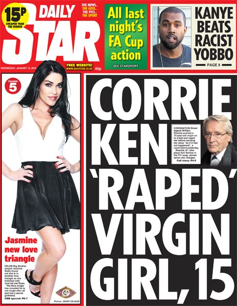 Daily Star front page, 15/1/14