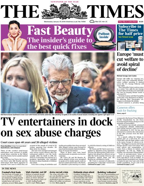 The Times front page, 15/1/14