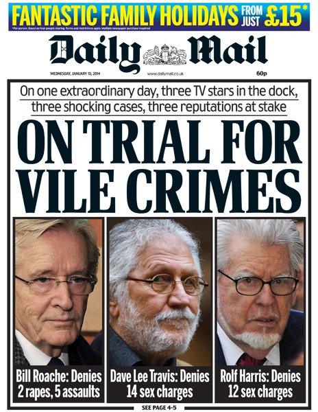 Daily Mail front page, 15/1/14