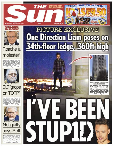 The Sun front page, 15/1/14