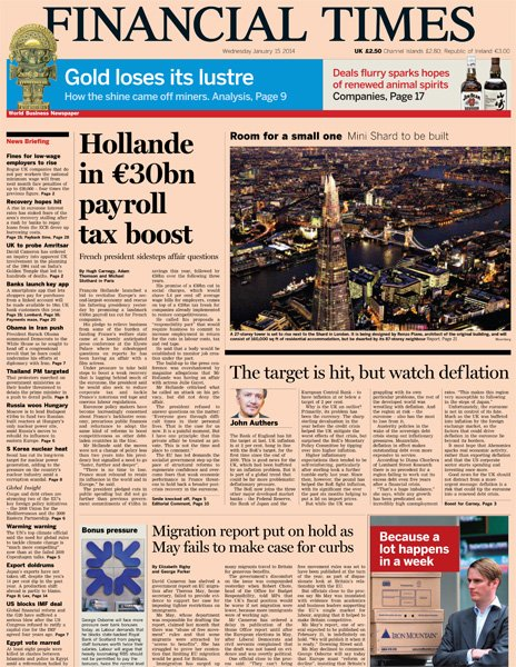 Financial Times front page, 15/1/14