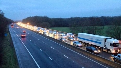 Vehicles queue on M4