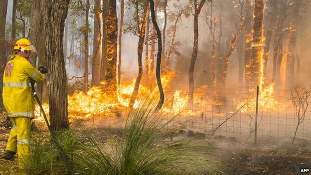 Firefighters work to contain wildfires in the Stoneville area, a suburb east of Perth in the state of Western Australia, 12 January 2014