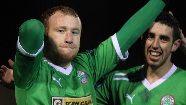 Cliftonville goal scorers Liam Boyce and Joe Gormley