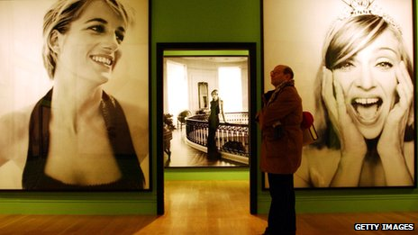 Pictures of Princess and Madonna on the wall at Testino's 2002 Portraits exhibition at the National Portrait Gallery
