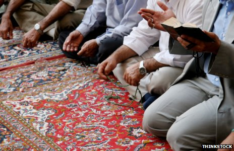Muslims praying