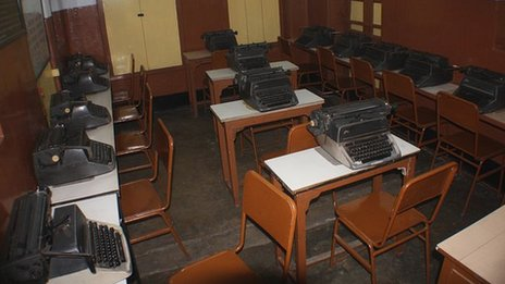 Classroom full of Remington typewriters in Suffee Commercial College, Calcutta