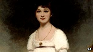 The Rice Portait of Jane Austin by British painter Ozias Humphry (1742-1810)
