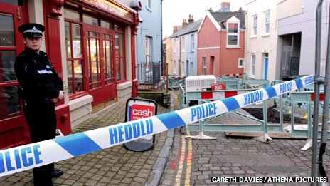 Police cordon off the scene in Tenby in March 2013