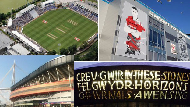 Clockwise from top left: Swalec Stadium; Cardiff City Stadium; Wales Millennium Centre; Millennium Stadium