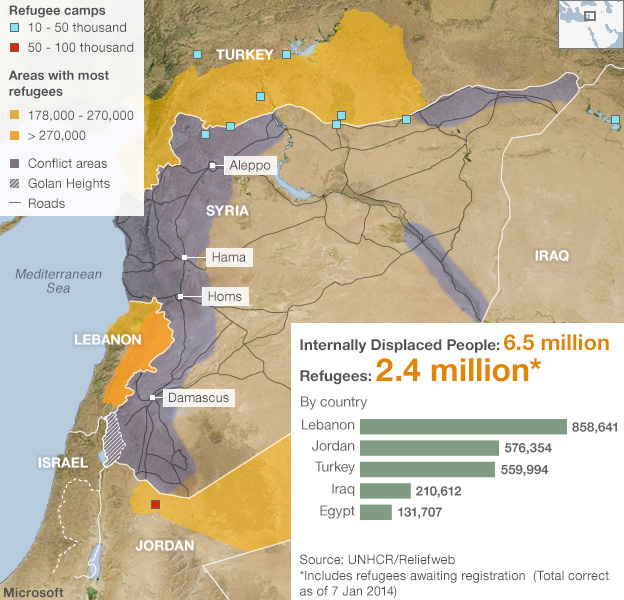 Map showing location of Syrian refugees