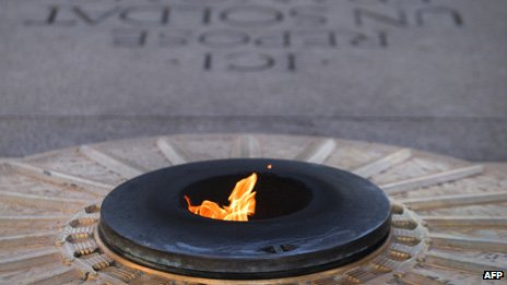Flame at the Tomb of the Unknown Soldier underneath the Arc de Triomphe in Paris