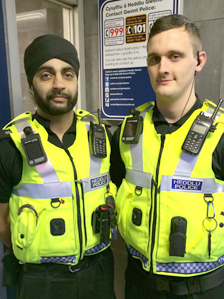 Pc Taranjit Channa (left) and Pc Tom Brookes pictured equipped with the body worn cameras