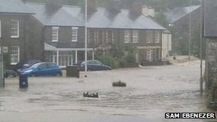 Flooding in Talybont in June 2012