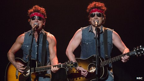 Bruce Springsteen (left) and Jimmy Fallon on 14 January 2014
